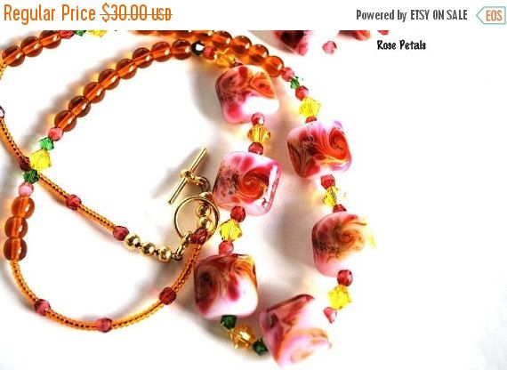 Pink and Yellow Necklace and Earring Set, Lampwork Beads, Handmade Jewelry Set  Rose Petals Necklace and Earring Set 20-inches long Handmade