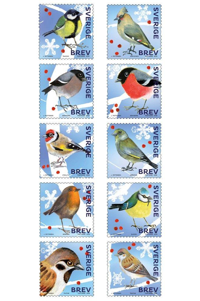 3 Oktober 2018 Julfrimärken Animals, Stamp, Birds