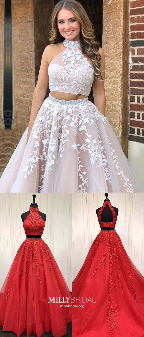 Two piece prom dresseslong formal evening dresses modestaline