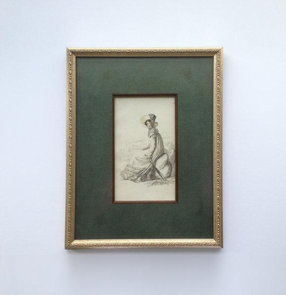 Walking Dress Fashion Engraving From La Belle by GraciousHomes, $125.00