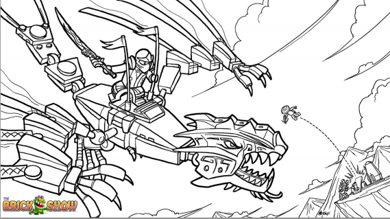 Printable Coloring Page For Lego Ninjago Golden Dragon Under