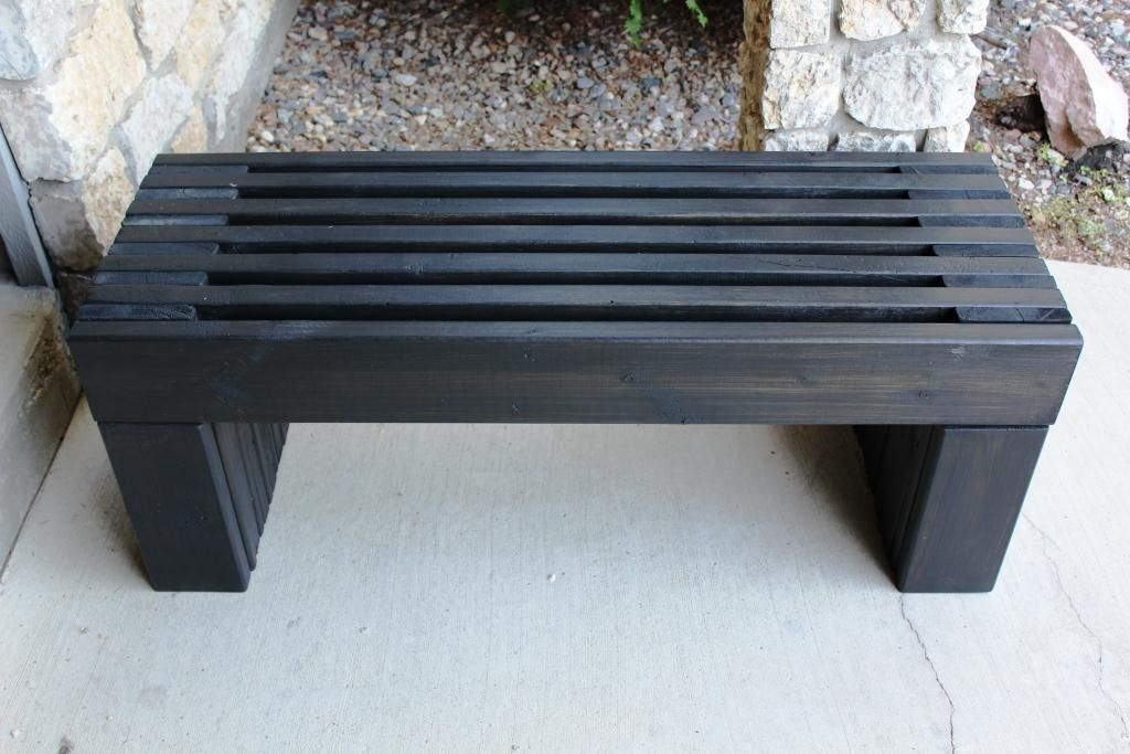 Modern Slat Top Outdoor Wood Bench Do It Yourself Home 640 x 480