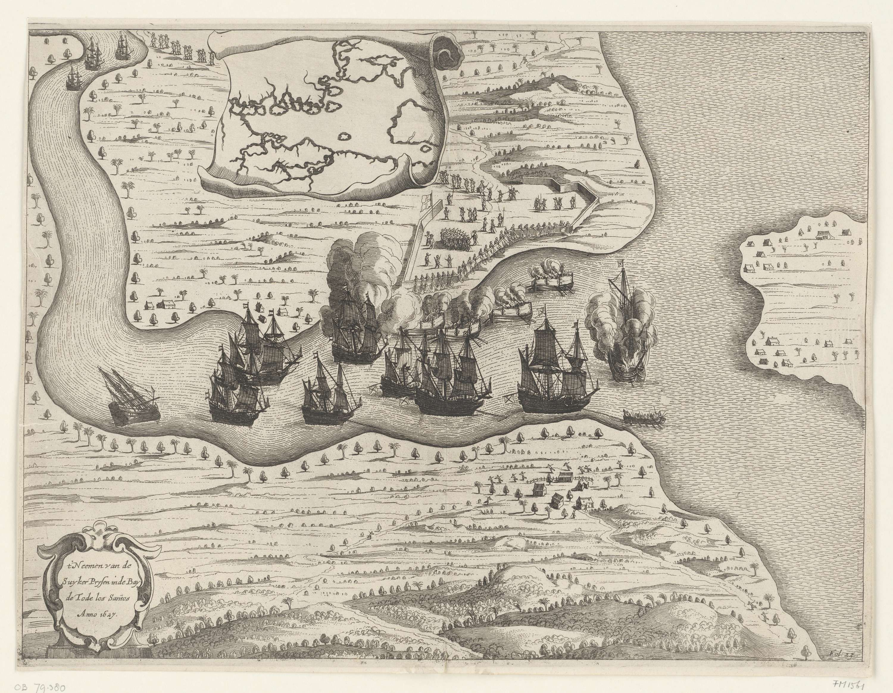 Anonymous   Portugese suikeropbrengsten buitgemaakt in de Bay de Tode los Santos, 1627, Anonymous, 1649 - 1651   Portugese schepen met de suikeropbrengsten buitgemaakt in de Bahia de Todos os Santos, 13 juni 1627. Kaart met de riviermonding met gevechten waar Hollandse schepen Portugese schepen (met de opbrengsten van de suikerteelt) buitmaken en deels in brand steken. Bovenaan een rol papier met een kaart van het groter gebied. Rechtsonder gemerkt Fol. 23.