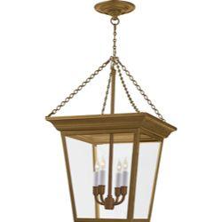 Studio: Sandy Chapman Small Cornice Hanging Lantern in Hand-Rubbed Antique Brass by Visual Comfort SL5871HAB