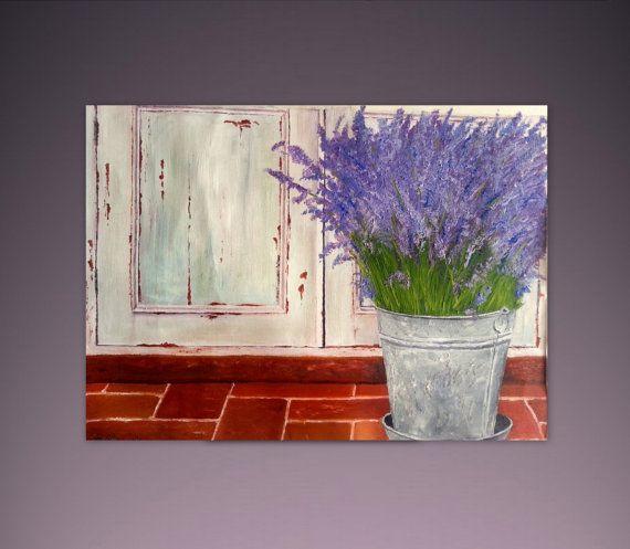 Original Oil Painting 28 x 20 Lavender Old por ArtonlineGallery