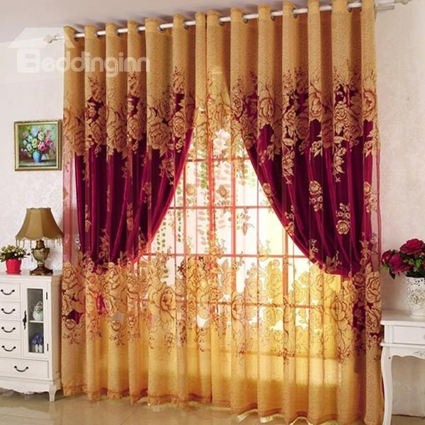 Classical Burgundy Gilding Carving Sheer Solid Shading Cloth Set
