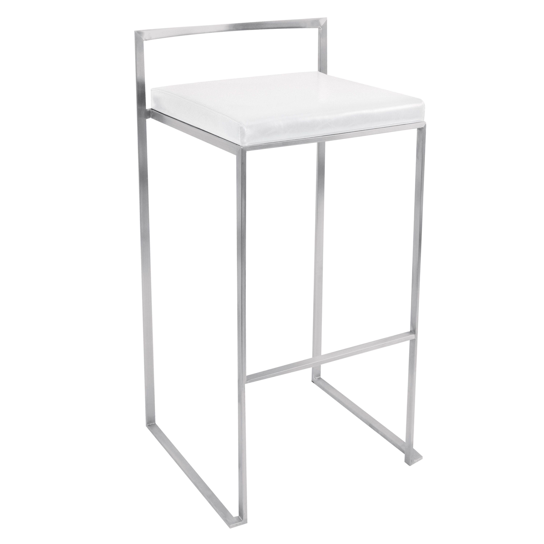 LumiSource Fuji Stackable Barstool - Set Of 2 (Fuji White Stainless Steel Barstool) (Chrome)
