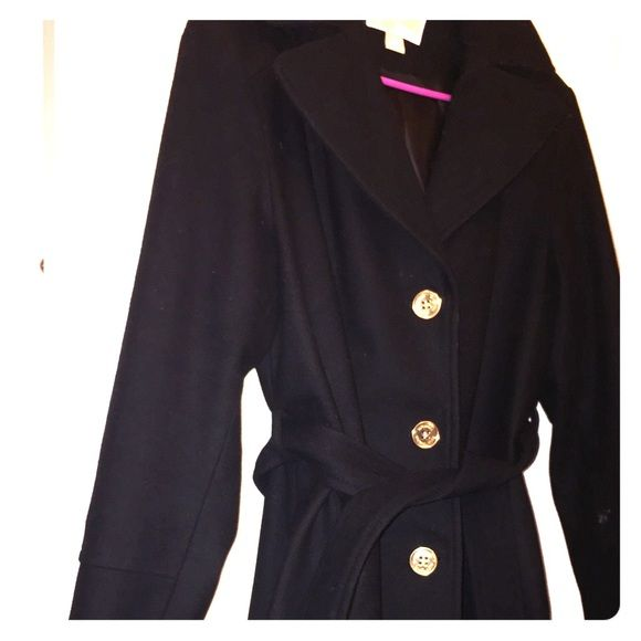 Michael Kors Wool Coat Black wool Michael Kors coat with gold buttons, very warm, in excellent condition purchased from Macy's comes from a smoke and pet free home! No trades looking to sell after purchasing a new wool coat, no Paypal, price reduced and firm. Serious inquiries only PLEASE if you are looking to purchase!!!!!! Coat runs true to size and hits above knee. Very warm and comfortable. MICHAEL Michael Kors Jackets & Coats