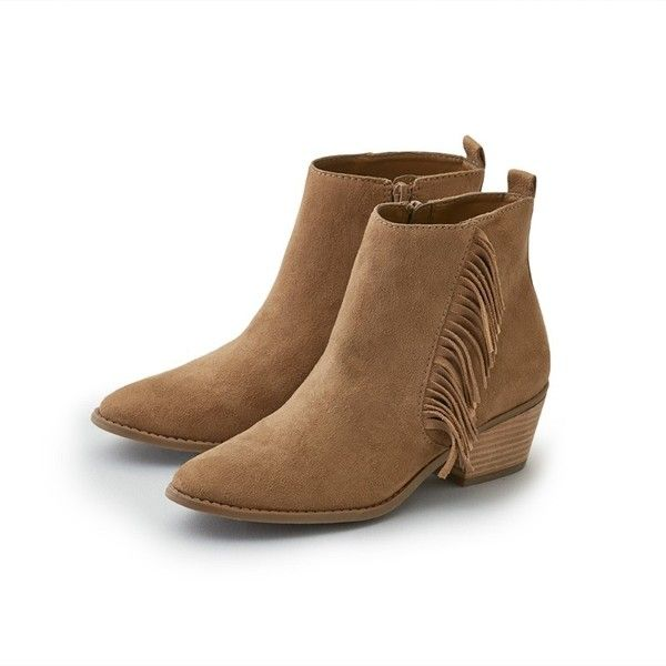 AEO Side Fringe Heeled Bootie ($45) ❤ liked on Polyvore featuring ...