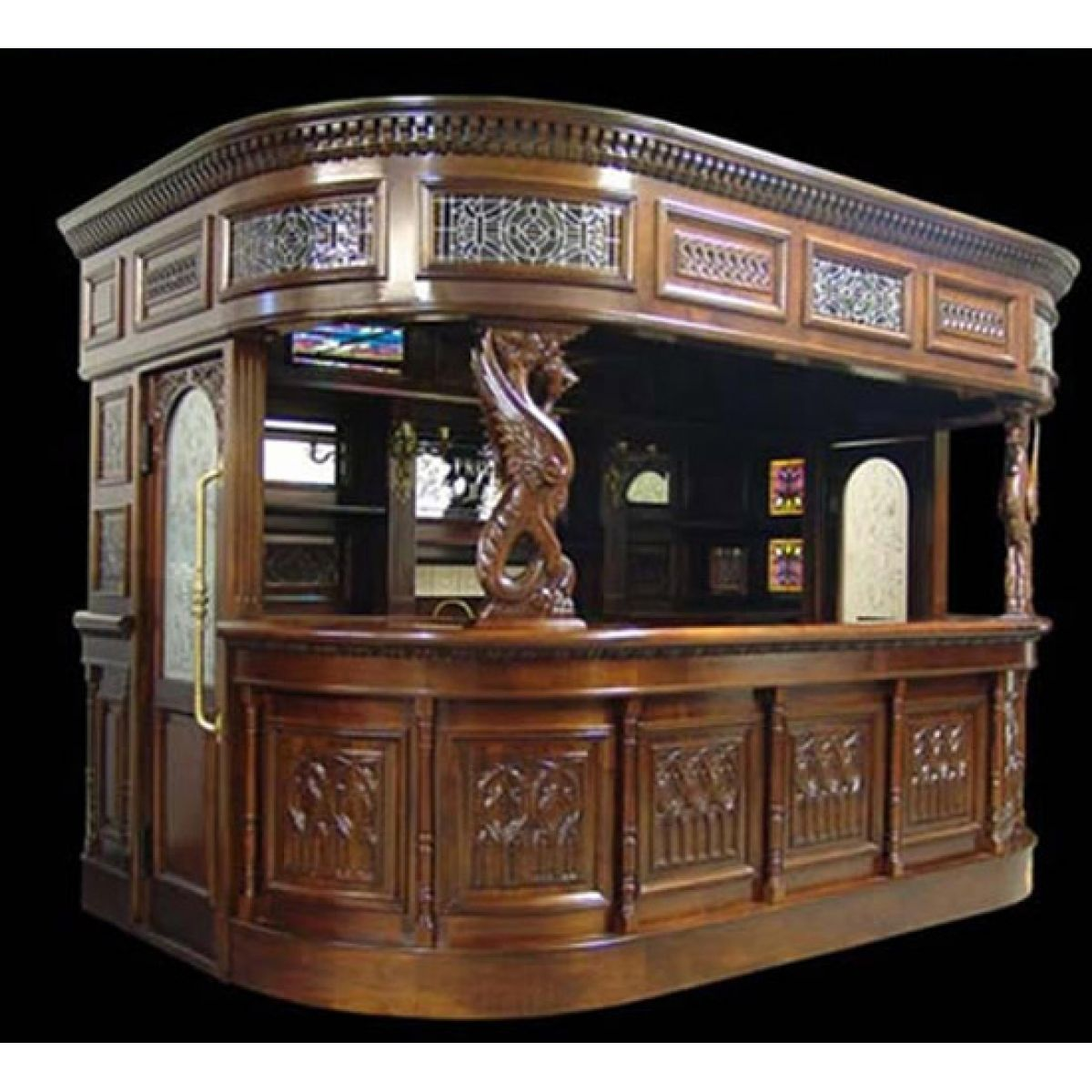Great Big Canopy Home Pub Bar Antique Furniture Replica Counter With Sink AS IS  FLOOR MODEL