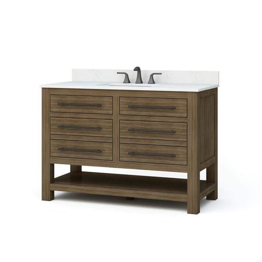 Allen Roth Kennilton Gray Oak Single Sink Vanity With Carrera White Engineered Stone Top Common 48 In X Single Sink Bathroom Vanity Bathroom Vanity Remodel