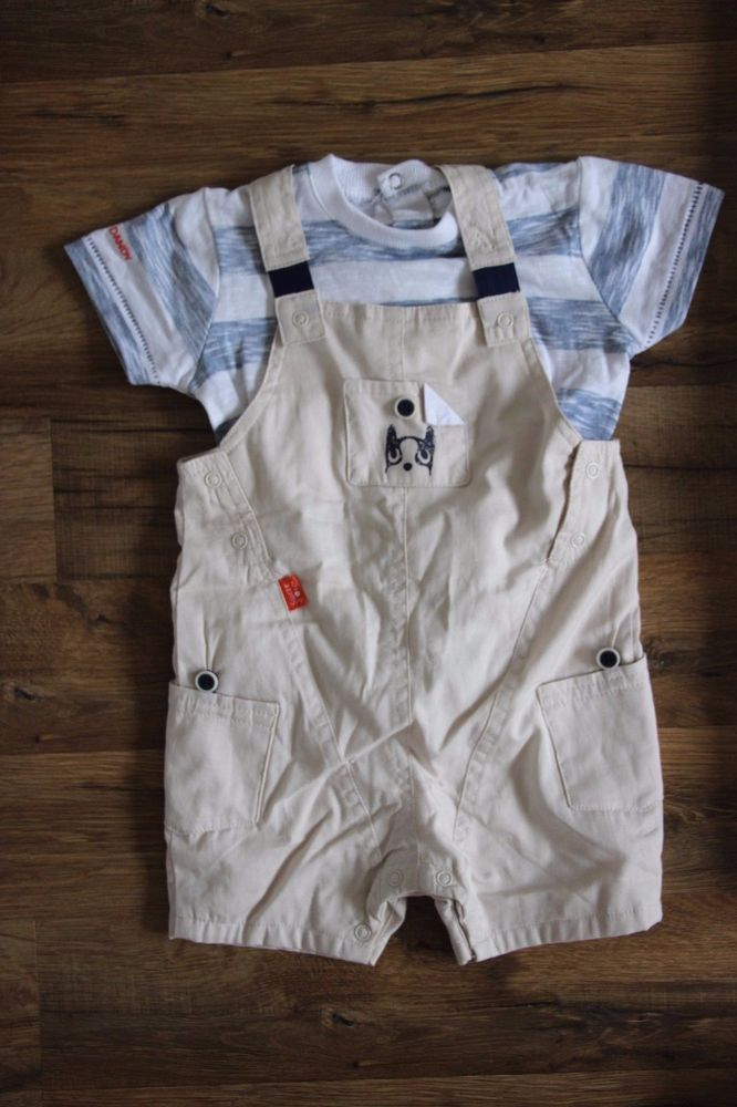 Baby Boy Outfit Top Shortalls Set Overall Tee Sucre D Orge 12