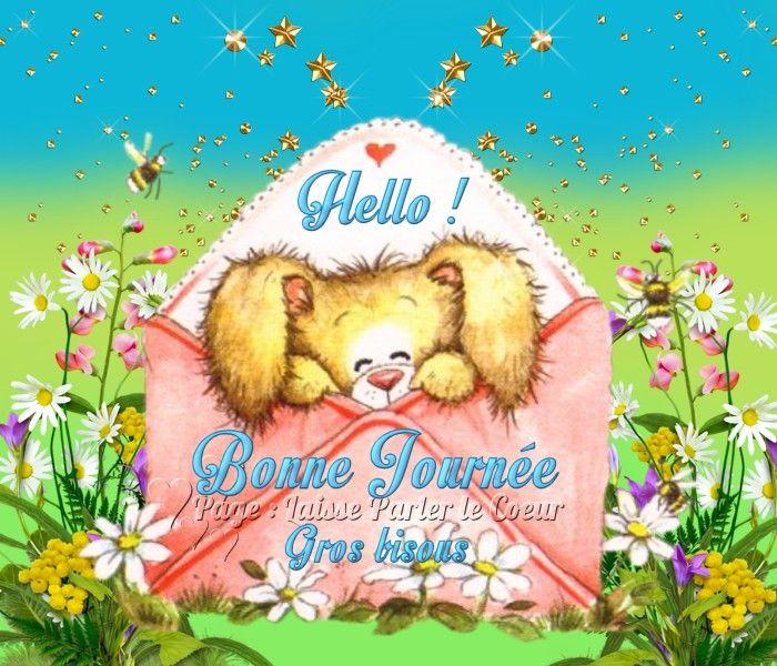 Hello ! Bonne Journée, Gros bisous #bonnejournee lapin enveloppe ...