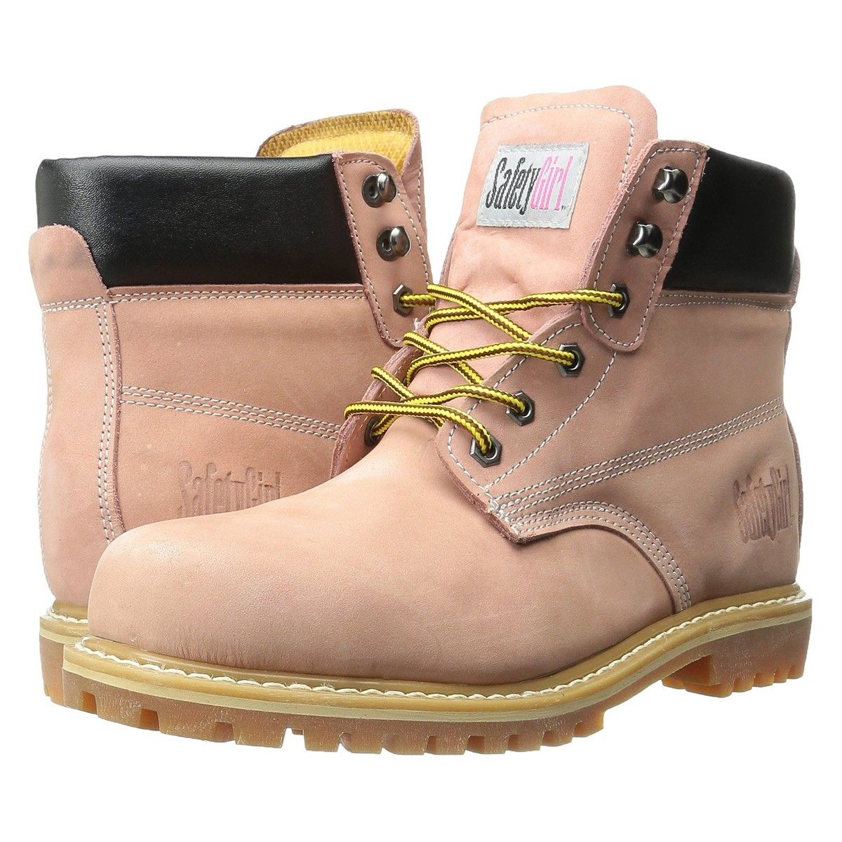 60 Safety Girl Steel Toe Waterproof Womens Work Boots - Light Pink 673b0e827e