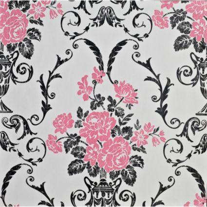 Statement Beatrice Black & Pink Wallpaper: Image 1