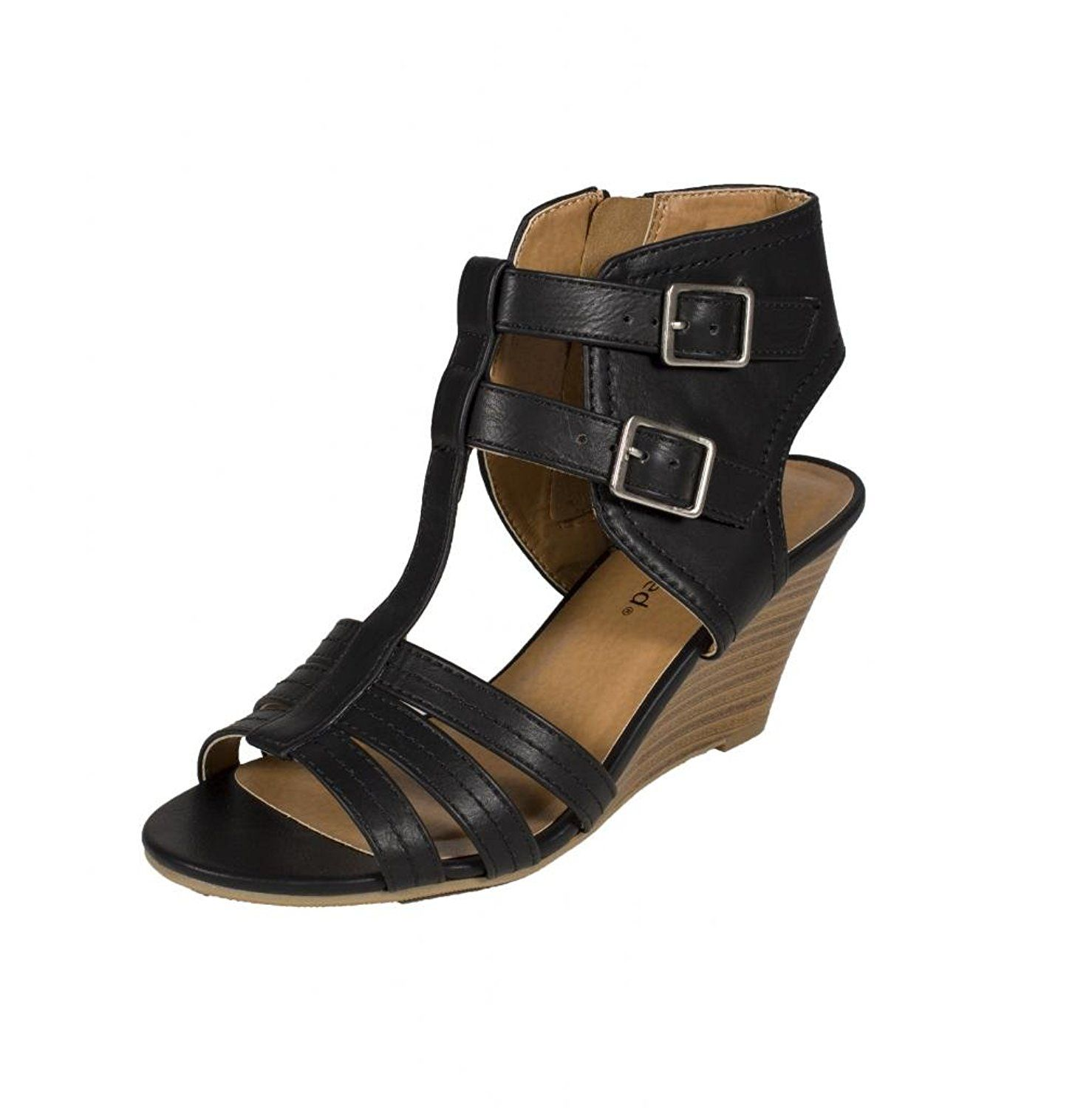 fa6827e569f City Classified Women s Heart Strappy Open Toe Gladiator Multiple Buckle  Mid Heel Sandal Black Leatherette    See this great image at Sandals board