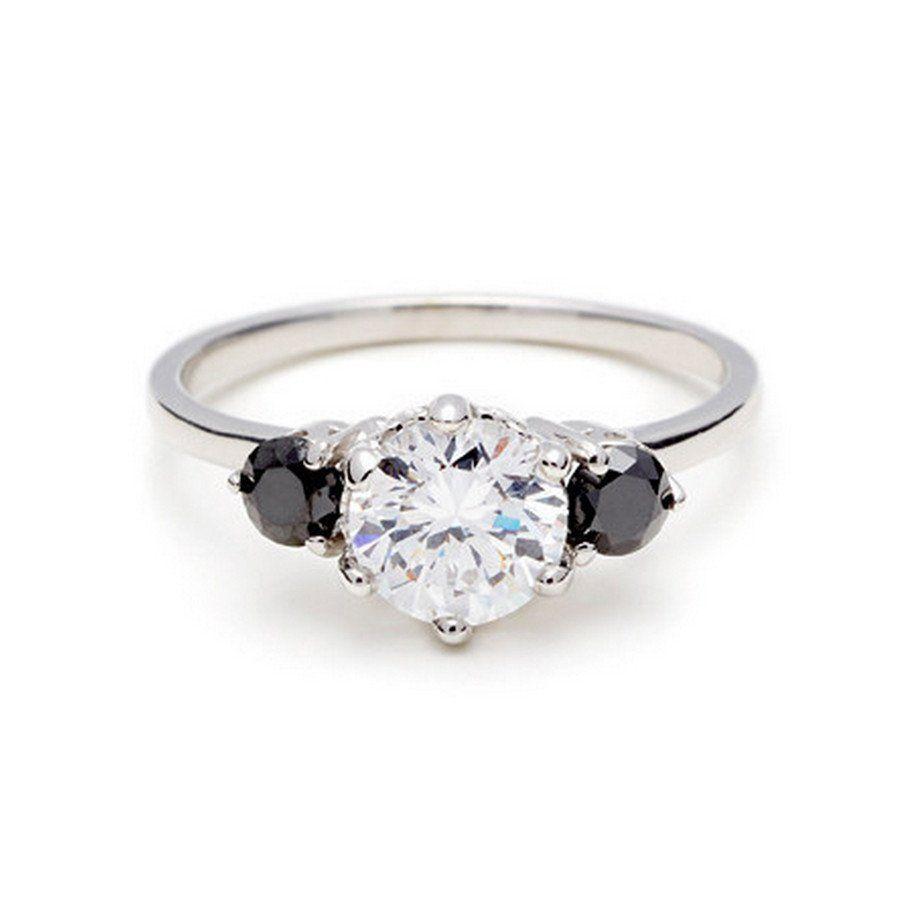 Engagement Ring Black Diamond Engagement Wedding Band Wedding