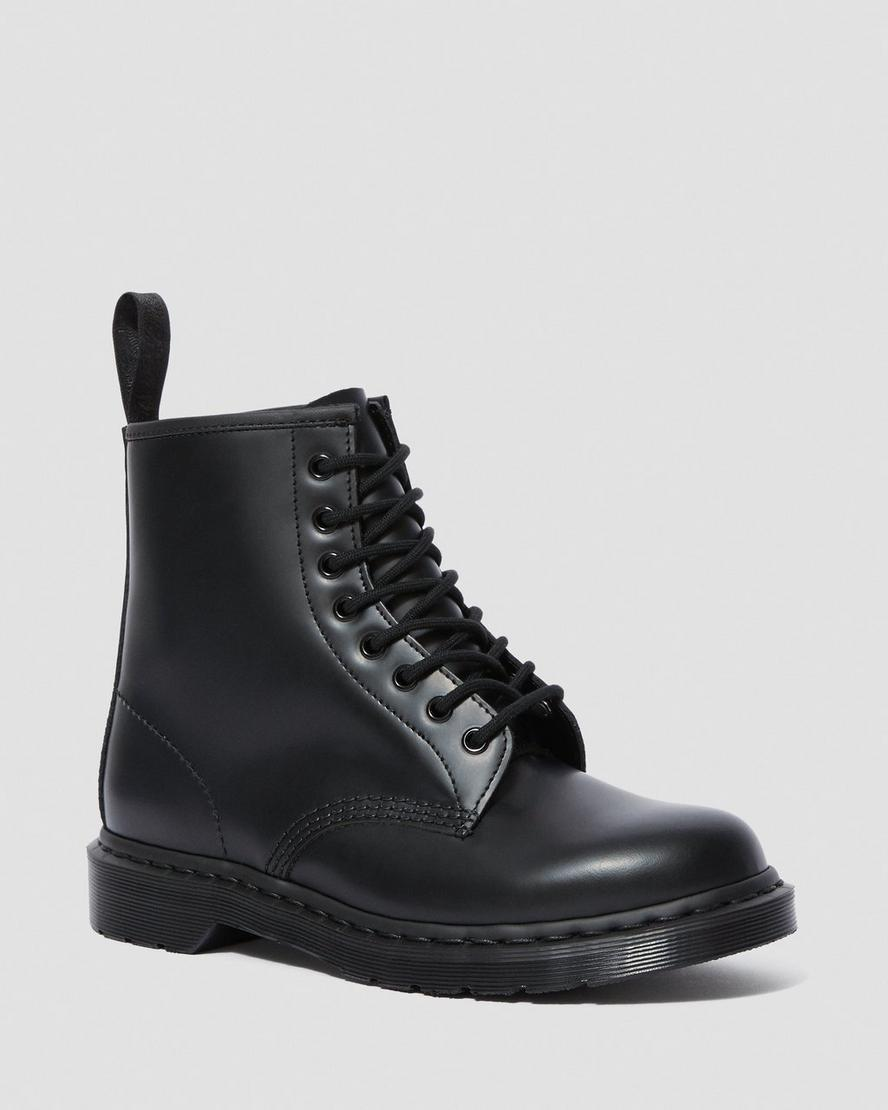 Lack boots schwarz   1460 MONO SMOOTH LEATHER LACE UP BOOTS