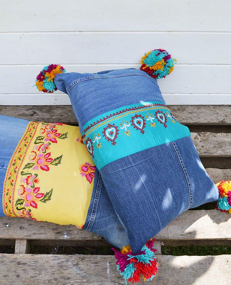 Easy way to make colourful boho style jeans pillows boho pillows