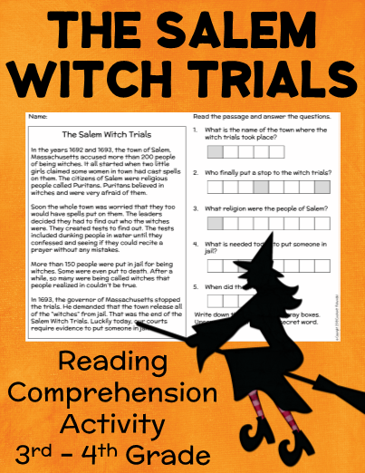 FREE Salem Witch Trials Reading Comprehension Grade 3-4 ...
