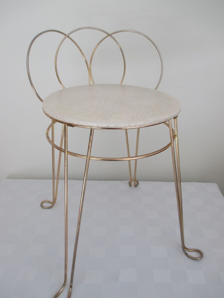 Vtg Mid Century Hollywood Regency Vanity Chair Vanity Stool Vanity Chair Vintage Makeup Vanities Vanity Stool