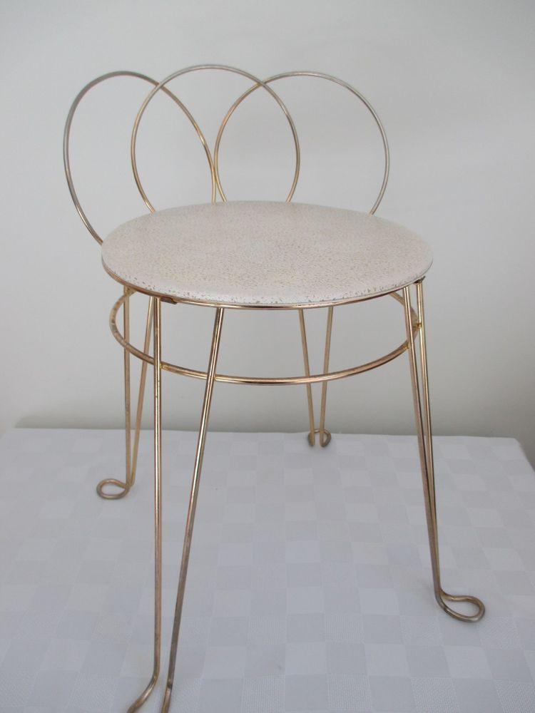 Vtg Mid Century Hollywood Regency Vanity Chair Vanity Stool