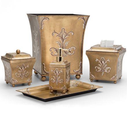 Julia Metal Tole Bath Accessories by Labrazel Handpainted brass