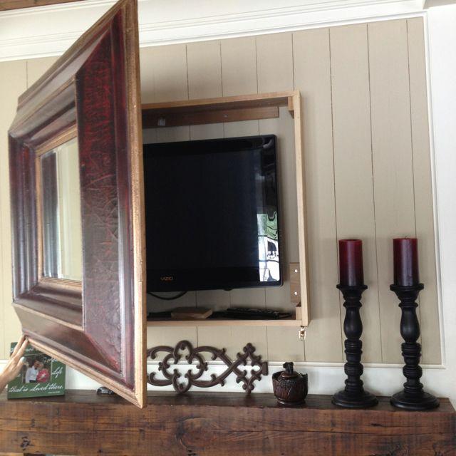 Diy Mirror Tv Cabinet: DIY Mirror Box To Hide Mounted Tv! (did The Same To Hide