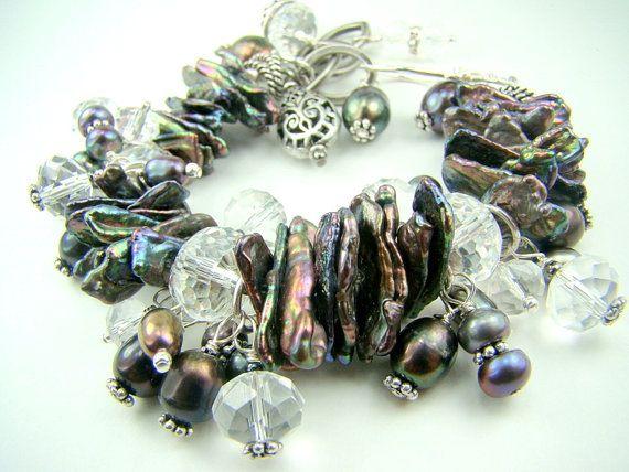 Chunky pearl bracelet dark blue stick pearls by strandsofgrace, $63.00