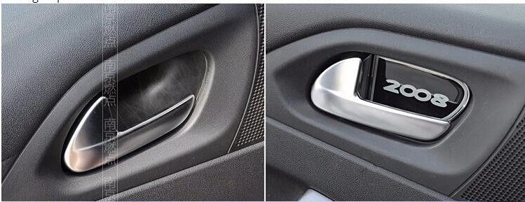 Interior Door Handle Bowl Trim Fits Peugeot 2008 Accessories Free Shipping 4pcs Set For Peugeot 2008 Honda Logo Interior Accessories Vehicle Logos