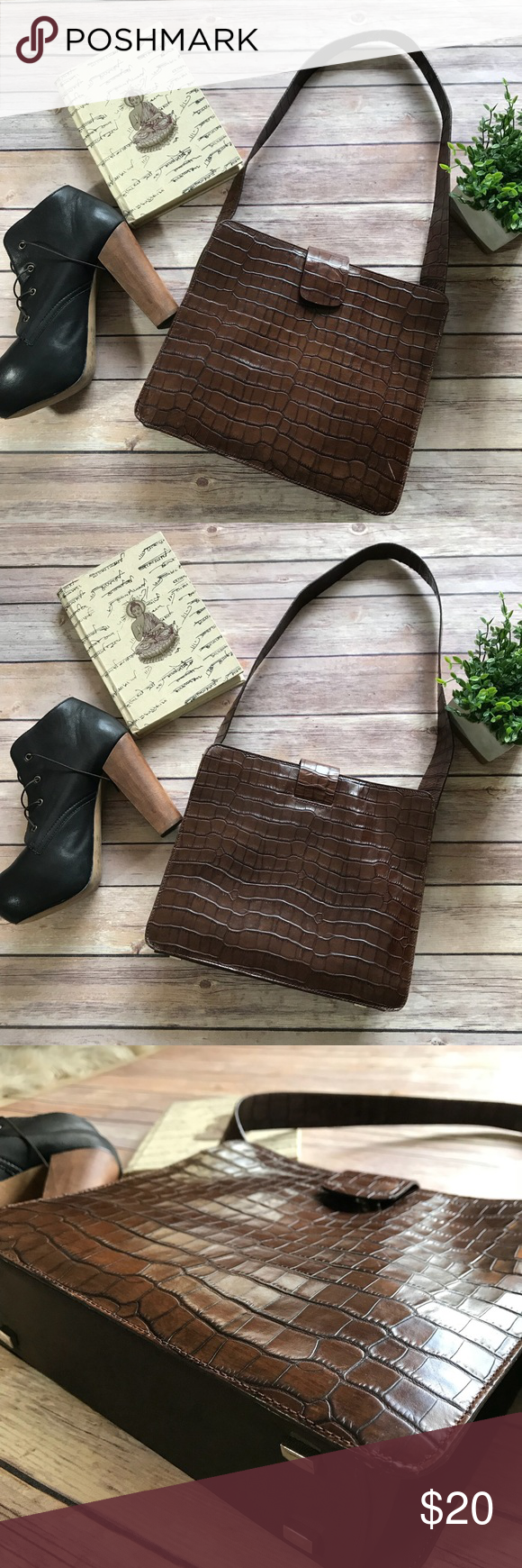 Adrienne Vittadini Brown Leather Purse   Brown leather purses ...