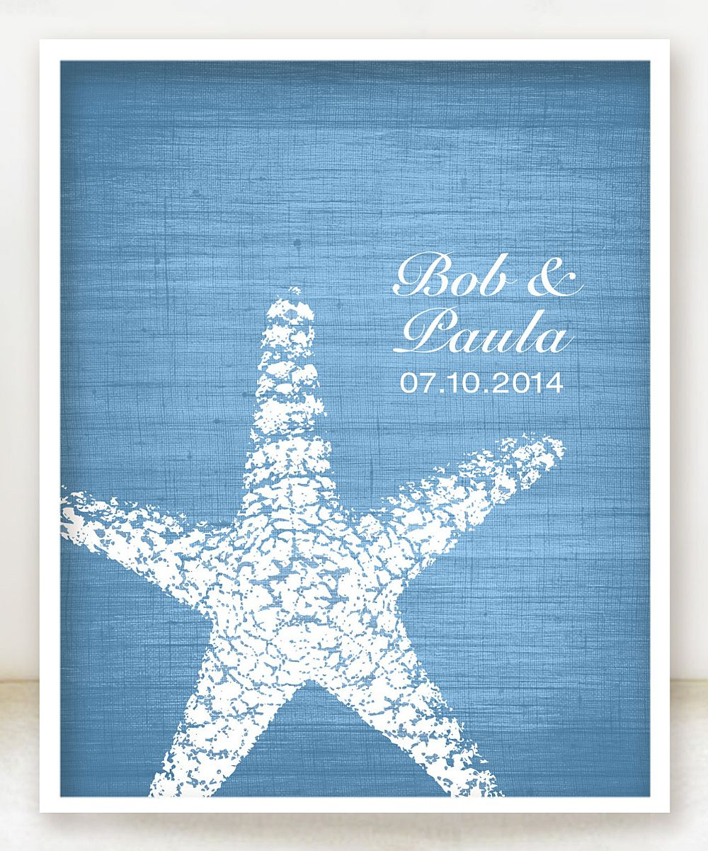 cute wedding gift idea - personalized starfish / beach