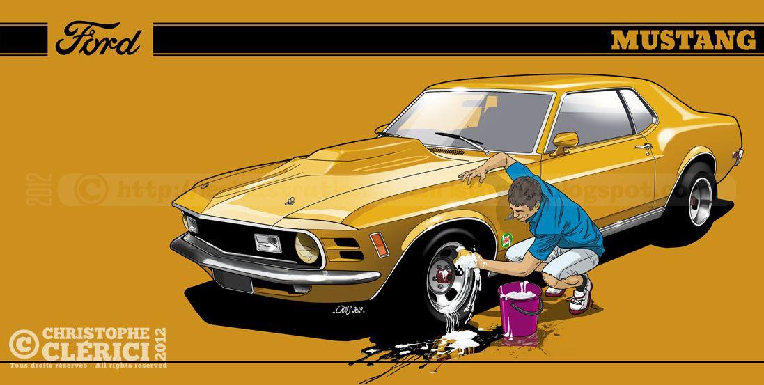 Les illustrations de christophe ford mustang car wash transport art dessin voiture - Coloriage car wash ...