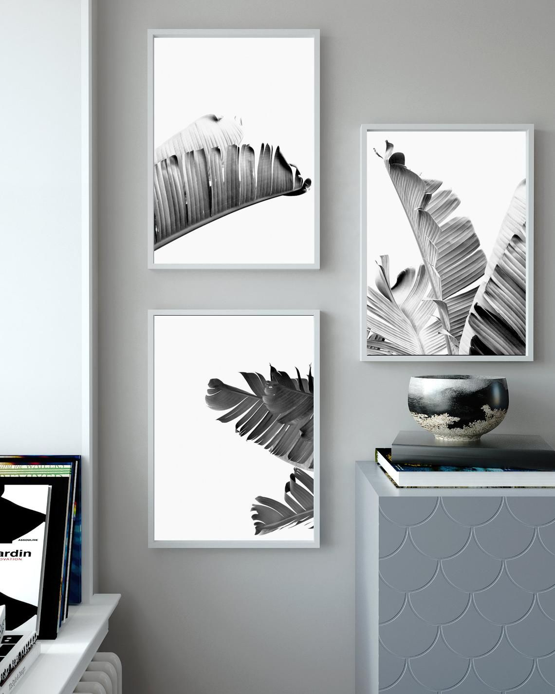 Set of 3 printable wall art torpical banana leaf print black etsy