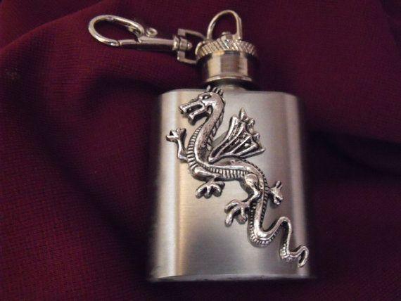 Midieval Silver Flying Dragon Mini Keychain Flask by AGothShop, $15.00