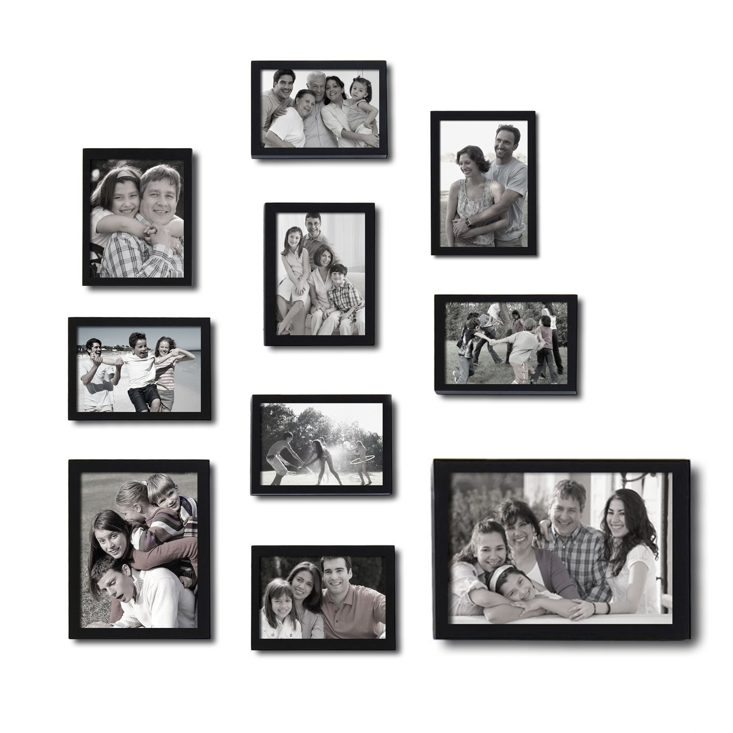 Adeco Decorative Black Wood 10 Piece Photo Frame Set For 8 4 X 6 Inch 1 6 X 8 Inch And 1 8 X 12 Inch Pictures Collage Picture Frames Picture Gallery Wall Picture Frames