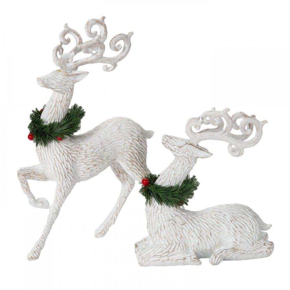 2pc White Deer Set W Neck Wreaths Christmas Door