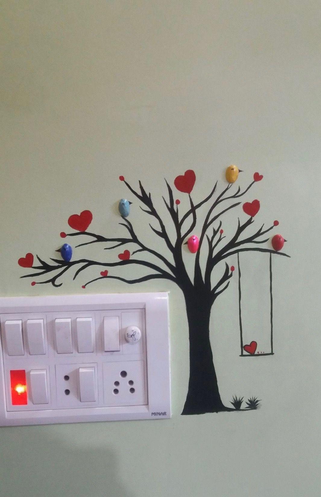 Wall art  Wall art in 2019  Diy wall painting Simple