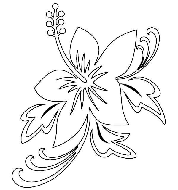 hawaiian flower coloring sheets with pages for hawaiian party ...