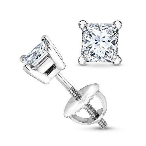 1 5 Carat Platinum Solitaire Diamond Stud Earrings Princess Cut 4 G Back I J Color