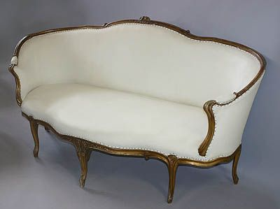 French, Louis XV Period Ottoman: Very Rare Sofa In Carved Giltwood Having  The Characteristic