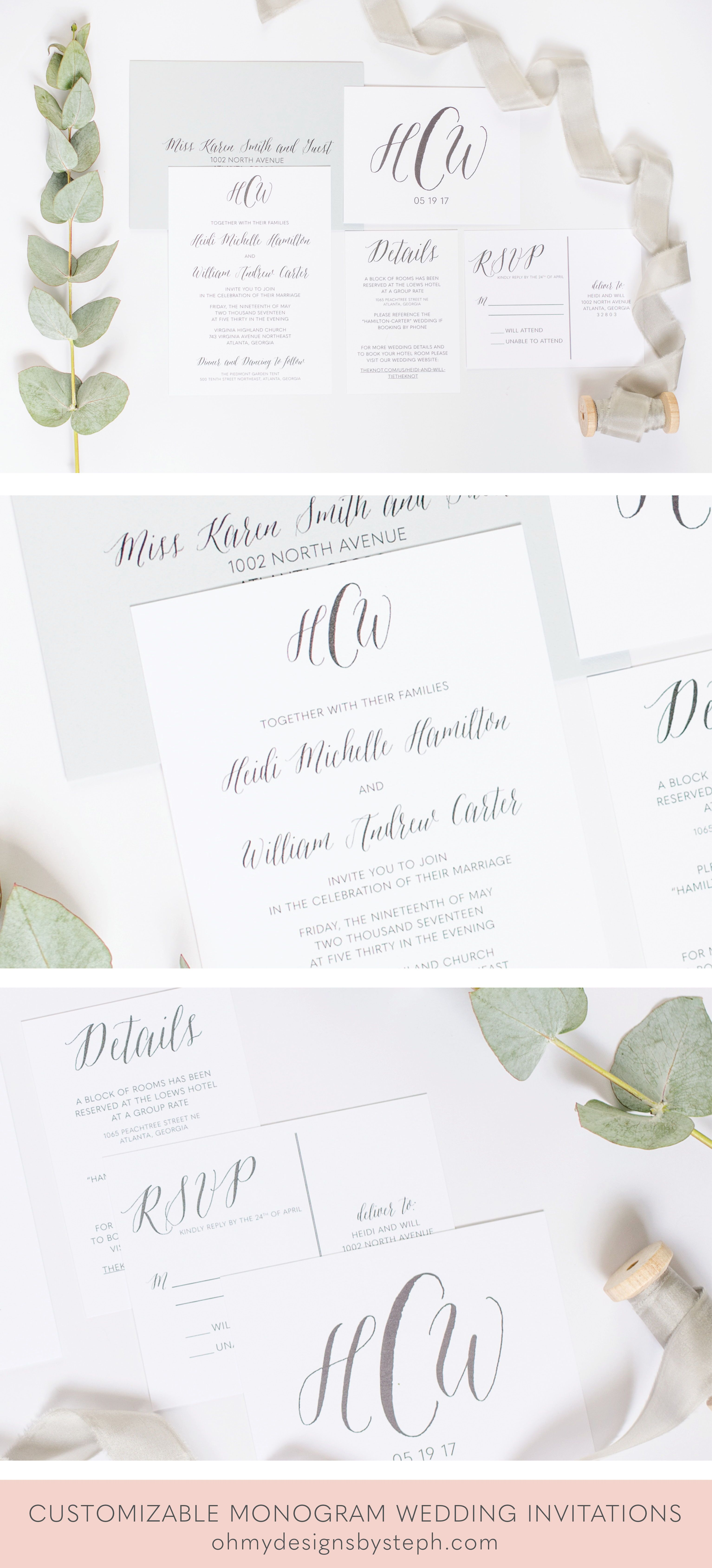 Minimalist Modern Monogram Wedding Invitations Say That 5x
