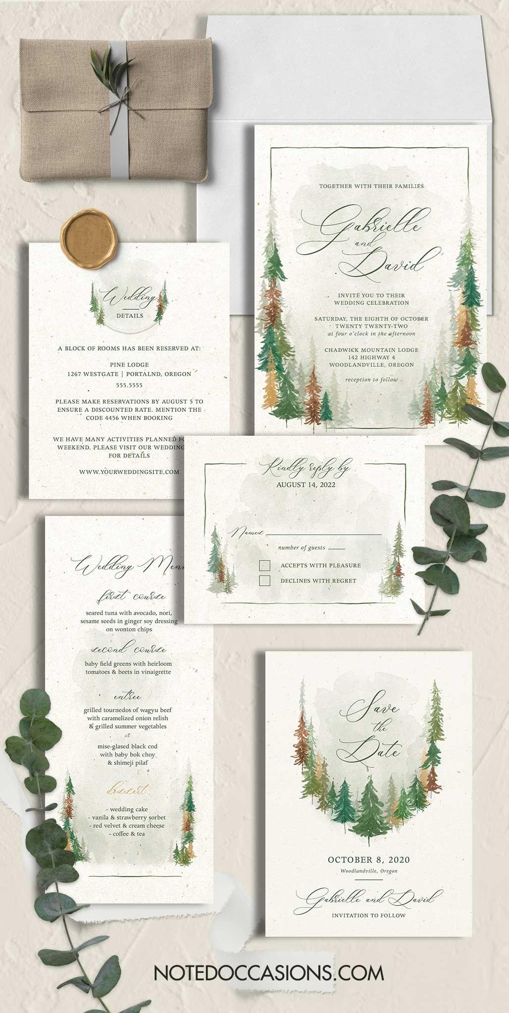 Woodland Wedding Invitations For Fall Weddings Woodland Wedding Invitations Forest Wedding Invitations Outdoor Wedding Invitations