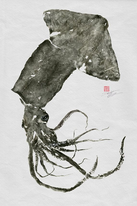 GIANT SQUID Humboldt Squid GYOTAKU print by FishingForGyotaku