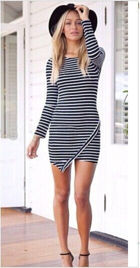 Black Long Sleeve Slim Striped Bodycon Dress - Sheinside.com ...
