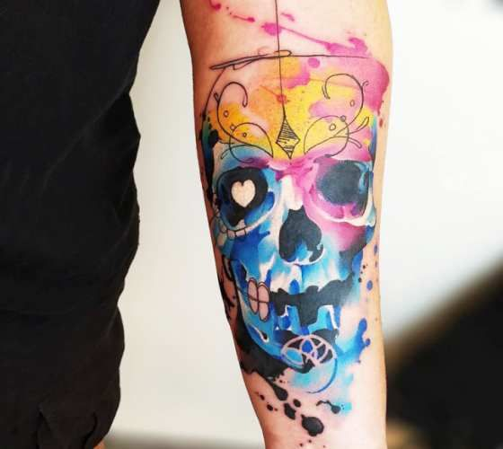 Mexican skull tattoo by Marco Pepe