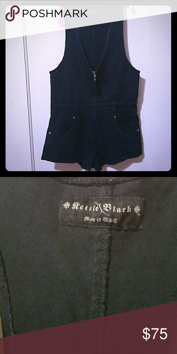 Kettle Black Black Denim Romper Almost new kettle black black denim romper.  Size M Kettle Black Shorts Jean Shorts