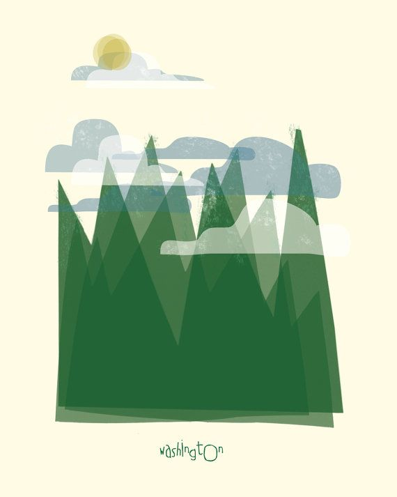 Washington art print illustration - 11x14 - green mountains poster wall decor via Etsy