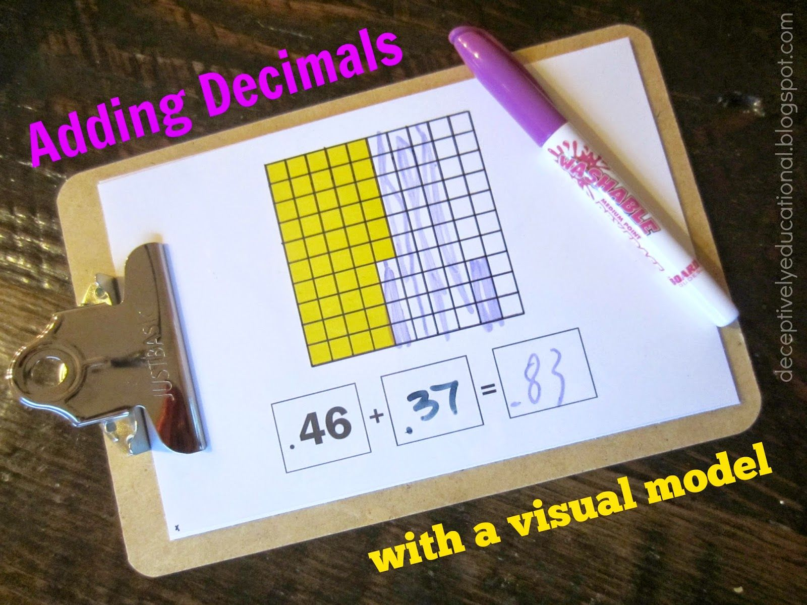 Adding Decimals With A Visual Model Relentlessly Fun