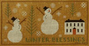 Winter Blessings Cross Stitch chart available at www.teresakogut.com/shop/patterns/cross-stitch/  New Release at Nashville Needleart Market 2015! ©Teresa Kogut #xs #nashville #snowmen #winter